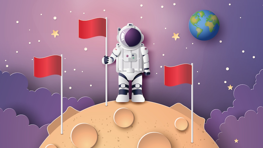 Astronaut with surrounded by flags on the moon, Paper art and digital craft style.