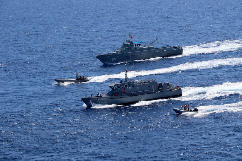 The Dominican Republic Near Coastal Patrol Vessel Betelguese (GC 102) and Coastal Patrol Vessel Orion (GC 109) conduct a bi-lateral maritime exercise with the Freedom-variant littoral combat ship USS Wichita (LCS 13), March 24, 2021.