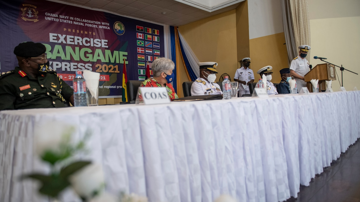 Rear Adm. Jeffrey S. Spivey, director, maritime partnership program, U.S. Naval Forces Europe, Africa, Sixth Fleet, delivers remarks during the closing ceremony of Exercise Obangame Express in Accra, Ghana, March 27, 2021.