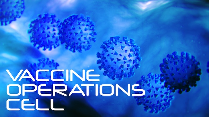 Air Force graphic representing Air Force Reserve Command's Vaccine Operations Cell which has been up and running since mid-January to help ensure all Reserve Citizen Airmen who choose to get the COVID-19 vaccine receive it safely, efficiently and without waste.