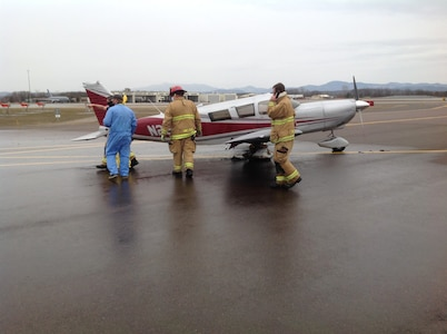 The 158th Fire Department responded to a civilian aircraft fire on a runway of Burlington International Airport on the evening of March 24. (Courtesy photo)