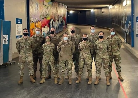 Ten Hill Airmen joined a group from the 88th Air Base Wing's Medical Group in deploying to Detroit March 19 in support of a Department of Defense COVID-19 vaccination support operation.