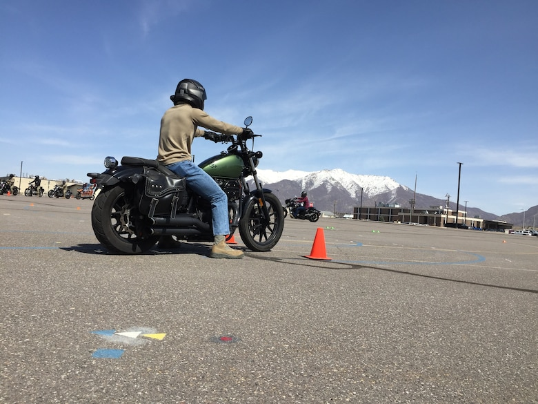 A photo of a motorcycle training course