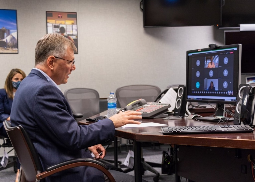 Dr. Meink attends virtual university engagement at NSU from NRO HQ March 23.