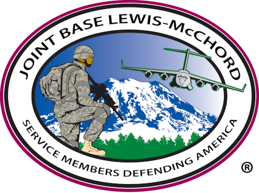 Joint Base Lewis-McChord logo featuring soldier, flying C-17, and Mount Rainier.