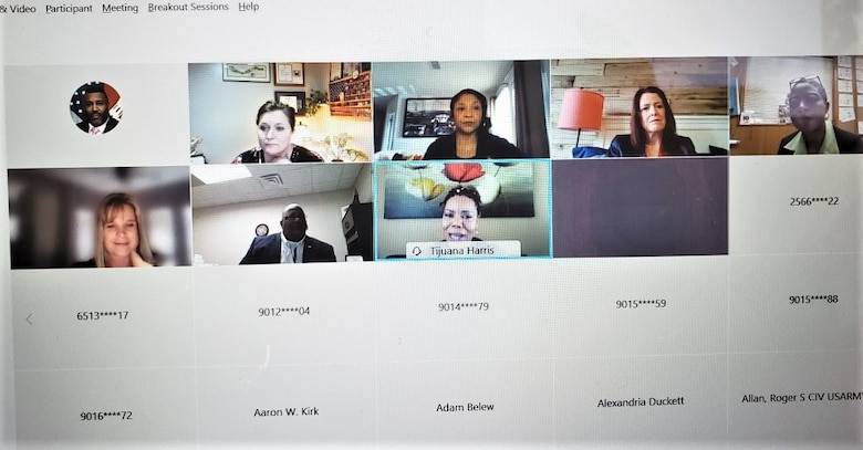 """IN THE PHOTO, a screenshot of the virtual Women's History Month meeting held Mar. 24, 2021. Pictured is the Moderator and Memphis District Counsel and Senior Legal Officer Suzy Weil (top row, fourth from left). Also shown are (not in order) Equal Employment Opportunity Chief Donnell Wright, Rock Island District Outreach and Customer Relations Specialist Angie Freyermuth, Memphis District Mechanical Engineer Erica Thomas, Memphis District Readiness and Contingency Operations Chief Kandi Waller, Memphis District Procurement Analyst TiJuana """"TJ"""" Harris, and Memphis District Government Purchase Card Program Coordinator Carla Wells, as well as the people that joined to listen in on the discussion. (USACE screenshot by Donnell Wright)"""