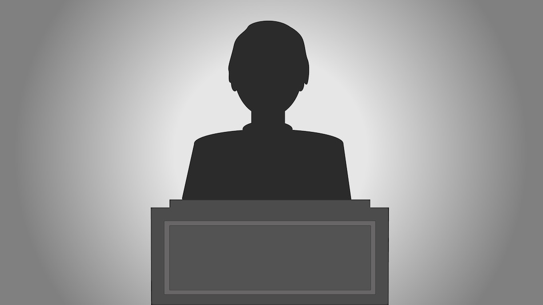 Illustration silhouette of a person behind a podium