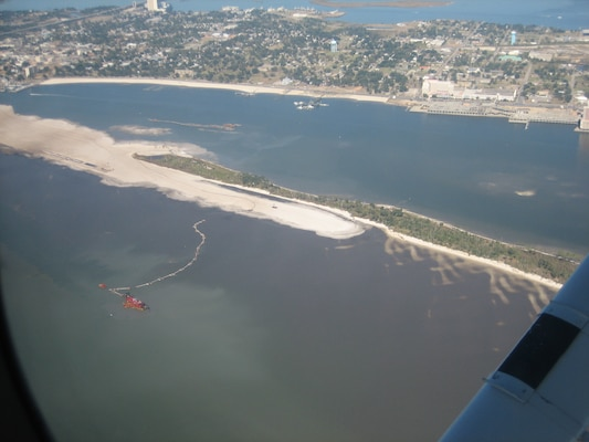Construction to restore the southern shoreline of Deer Island, off the coast of Mississippi.