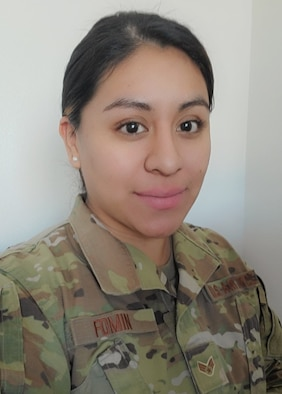 Senior Airman Mayra Fomin was one of several hundred Idaho Guardsmen who volunteered to mobilize across the state in December 2020 after COVID-19 cases increased. She used her Spanish and personal experience getting COVID-19 to help serve the community of Spanish-speaking Idahoans in Canyon County, Idaho.