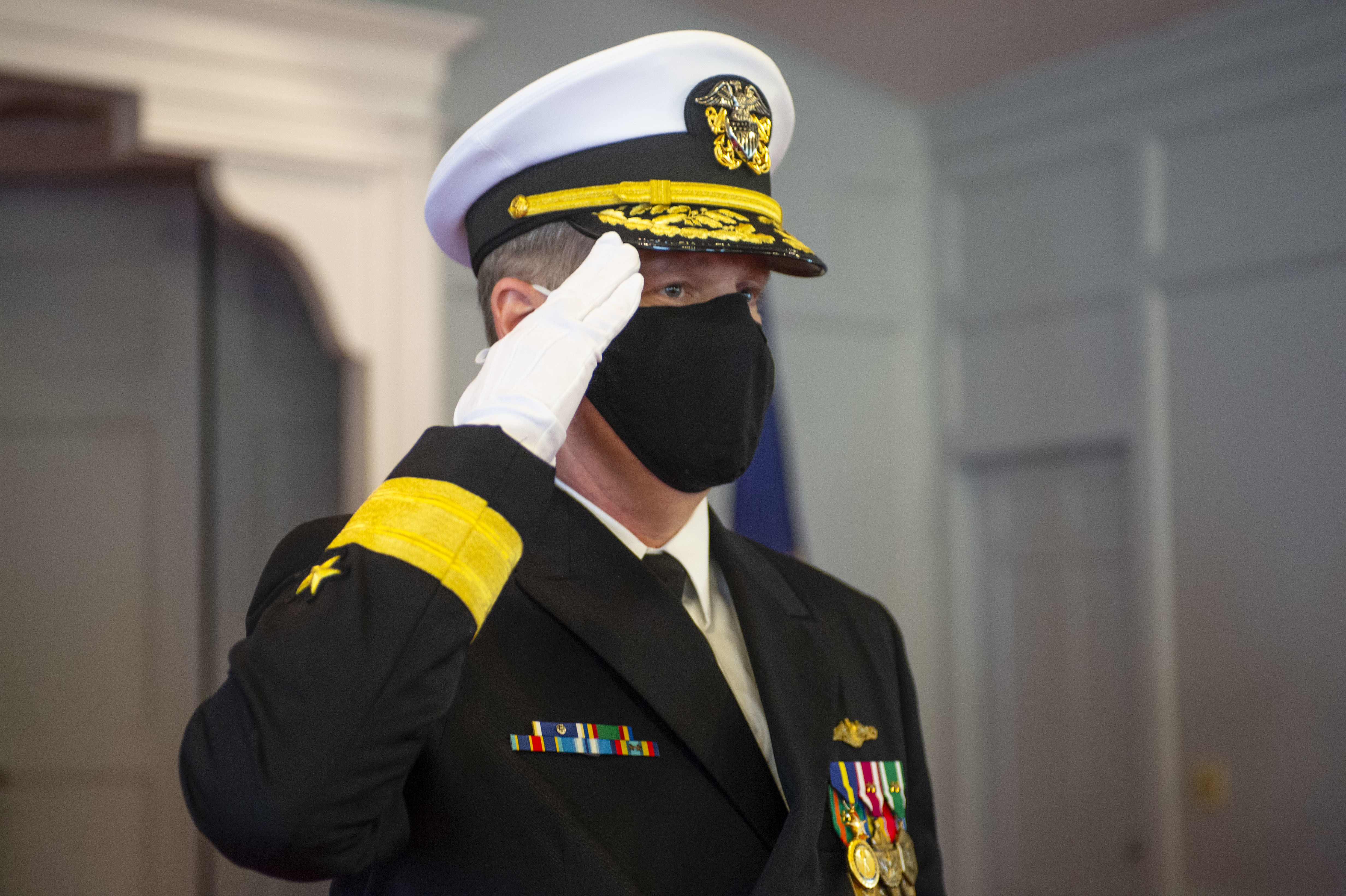 Change of command ceremony for Commander, Submarine Group Two (SUBGRU2) at Naval Support Activity Hampton Roads in Norfolk, Va., March 26, 2021.