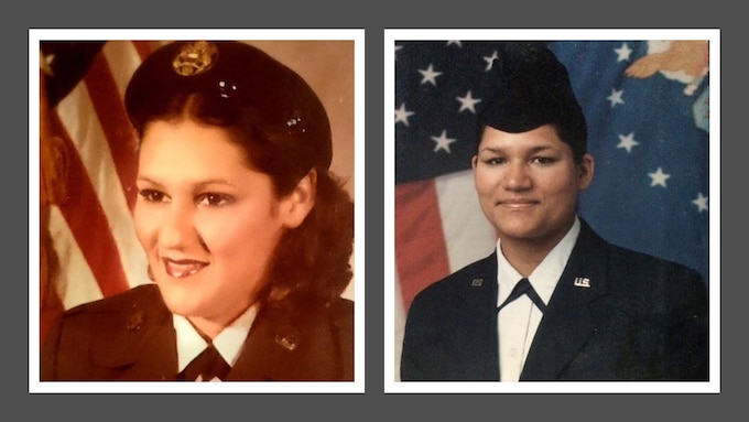 Retired Army Master Sgt. Norma Miranda, left, served in the Puerto Rico Army National Guard and Reserve for 35 years. U.S. Air Force Master Sgt. Namir Laureano continues to serve after 16 years in the active duty Air Force and New Jersey Air National Guard. (U.S. Air National Guard graphic by Senior Julia Santiago)