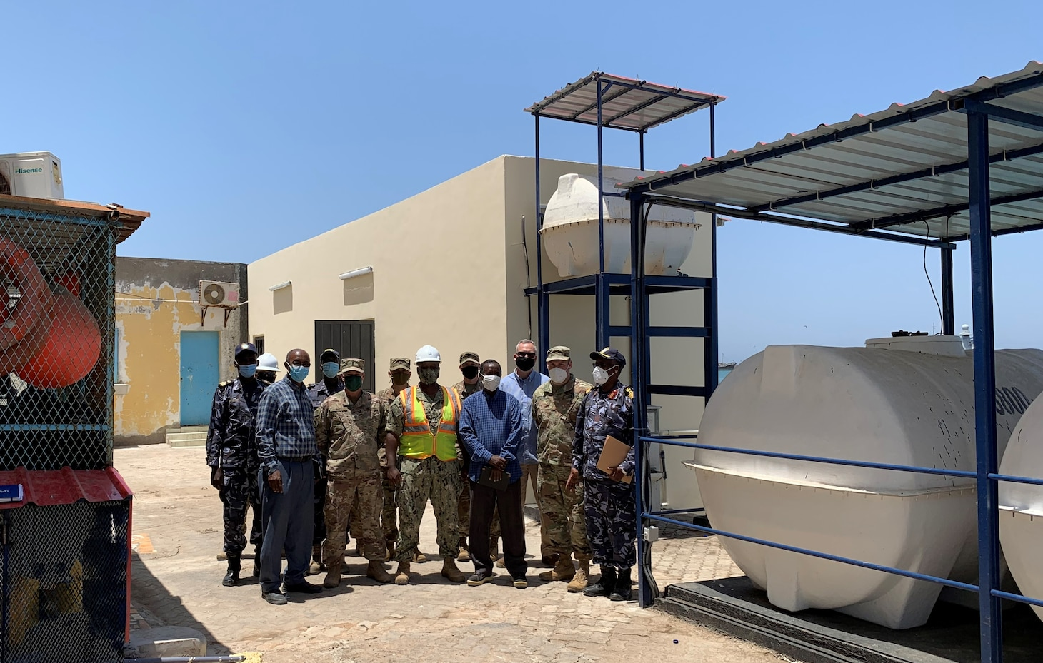 Service members from Combined Task Force Horn of Africa (CJTF-HOA) Naval Facilities Command and the U.S. Embassy, Djibouti conduct final walk-though and turn-over of the newly constructed restroom facility, water storage system and maritime operations center conference room sponsored by U.S. Naval Forces Africa and constructed by the local Djiboutian contractor, TREMCO LLC. U.S. Sixth Fleet, headquartered in Naples, Italy, conducts the full spectrum of joint and naval operations, often in concert with allied and interagency partners, in order to advance U.S. national interests and security and stability in Europe and Africa.