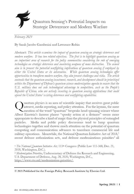 Quantum Sensing Title Page