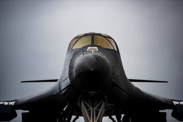 A B-1B Lancer assigned to the 9th Expeditionary Bomb Squadron sits on the flightline at Ørland Air Force Station, Norway, March 23, 2021. The 9th EBS completed a Bomber Task Force Europe deployment where the bomber unit executed a series of training missions while integrating with ally and partner nations. (U.S. Air Force photo by Airman 1st Class Colin Hollowell)