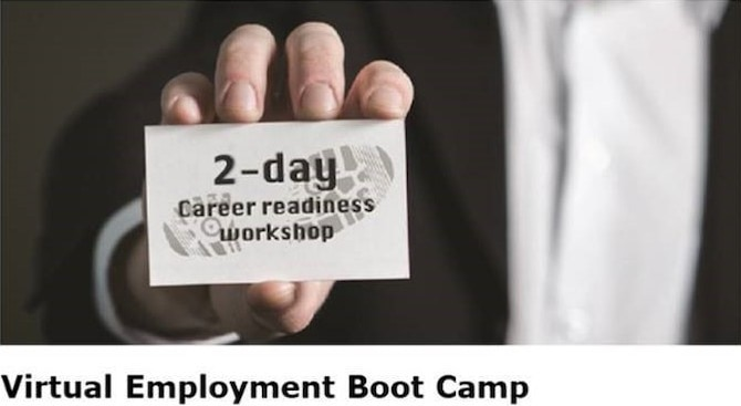 """Hosted by Deloitte, the Virtual Employment Boot Camp (VEBC) is a two-day career readiness workshop that is offered to transitioning service members, wounded warriors, veterans, and their families. During this workshop, participants are provided access to valuable resources, employment preparation, and networking opportunities. Each VEBC focuses on six curriculum topics that include interview skills, resume writing, and networking, and creating the """"elevator pitch."""" The VEBC allows wounded warriors and caregivers insight on what is expected from the civilian sector to better prepare them during the transition and job seeking process."""