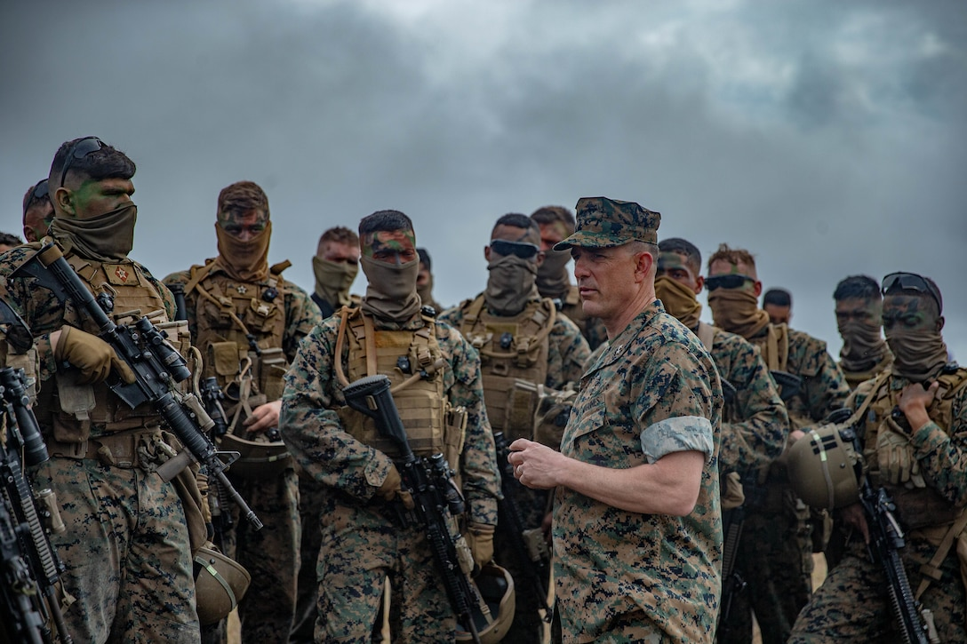 U.S. Marine Corps Maj. Gen. Frank L. Donovan, Commanding General of 2d Marine Division, addresses Marines after range G-36 on Camp Lejeune, N.C., March 24, 2021. The Marines conducted the range to increase proficiency in fire and maneuver tactics. The range is a live-fire, company-sized attack range which includes automated targets for mortarmen, snipers, machine gunners, and riflemen to engage for a more realistic combat situation. (U.S. Marine Corps photo by Lance Cpl. Brian Bolin Jr.)