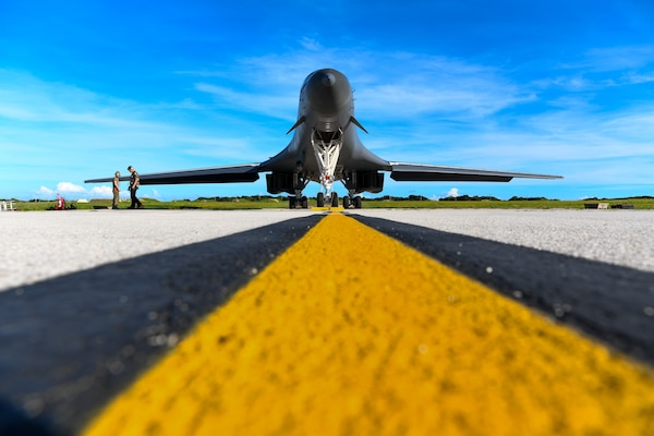 B-1B Lancer assigned to 28th Bomb Wing, Ellsworth Air Force Base, South Dakota, undergoes preflight maintenance at Andersen Air Force Base, Guam, September 25, 2020, while participating in exercise Valiant Shield (U.S. Air Force/Nicolas Z. Erwin)