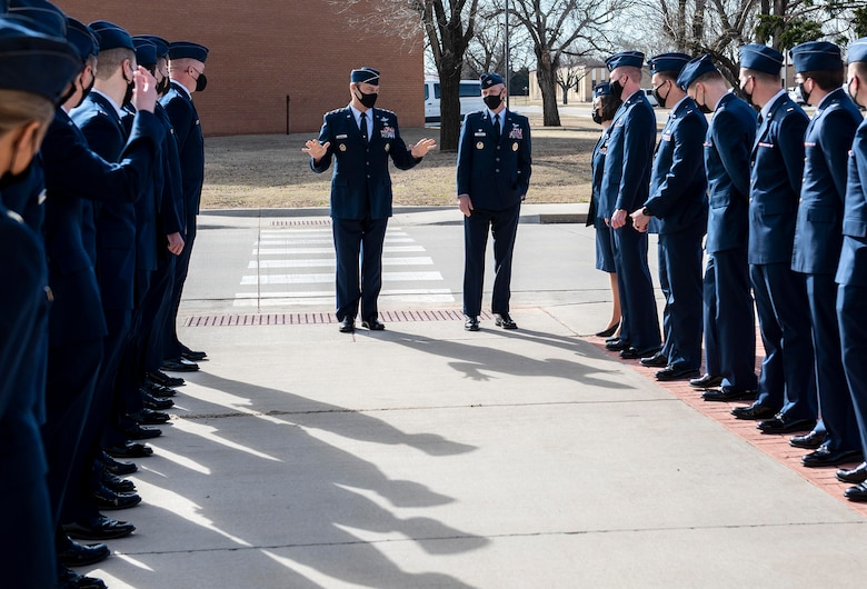 Lt. Gen. Joseph Guastella, the deputy chief of staff for operations Headquarters U.S. Air Force speaks to the Air Force's newest pilots during the graduation for Specialized Undergraduate Pilot Training Class 21-07 March 26 at Vance Air Force Base. (U.S. Air Force photo by Sarah Bailey)