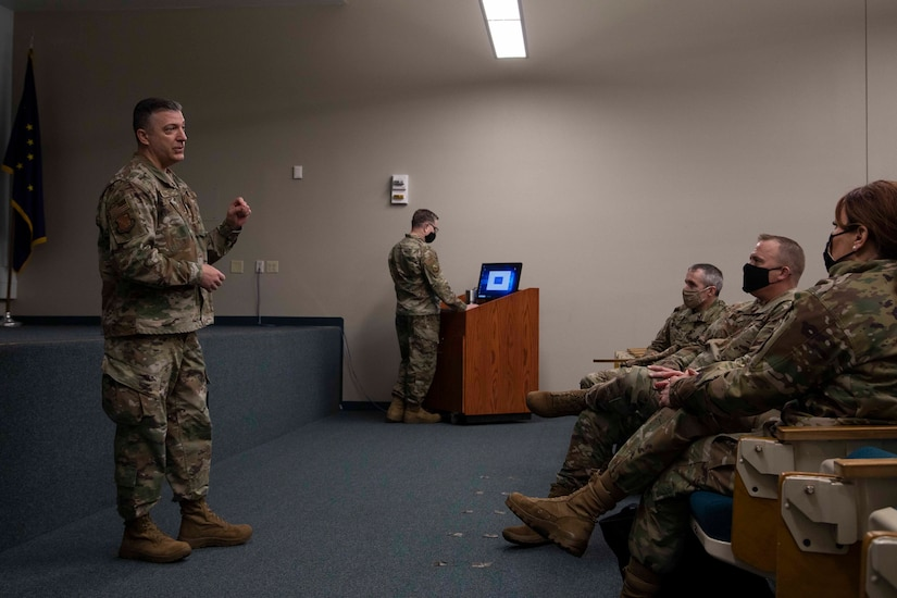 Maj. Gen. Torrence Saxe, adjutant general of the Alaska National Guard meets with Airman and Soldiers to discuss strategy and leadership skills in Eielson Air Force Base, Alaska, March 23, 2021. (U.S. Army National Guard photo by Victoria Granado)