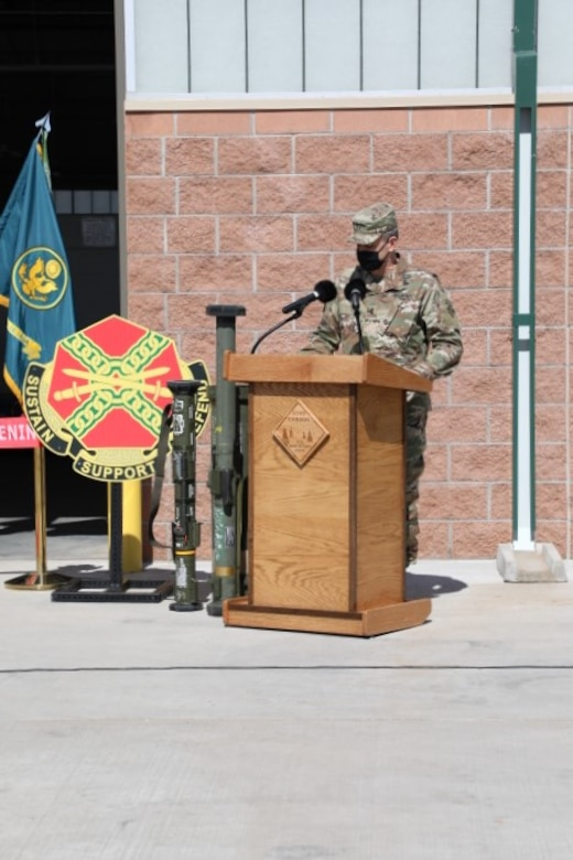 Army Maj. Gen. Matthew McFarlane, Commander, 4th Infantry Division, gives the keynote address at the ribbon cutting ceremony for the opening of the new Ammunition Supply Point facilities on Fort Carson, CO, March 19