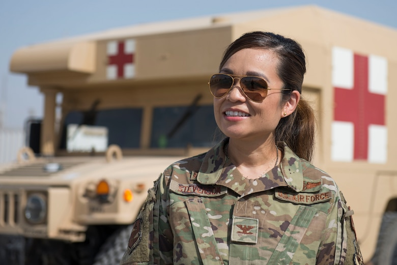 U.S. Air Force Col. Bonnie Stevenson, 380th Expeditionary Medical Group commander stands outside the medical clinic at Al Dhafra Air Base, United Arab Emirates, March 24, 2021. Stevenson joined the U.S. Air Force in 1996 after graduating from nursing school at the University of Texas Health Science Center. (U.S. Air Force photo by Staff Sgt. Zade Vadnais)