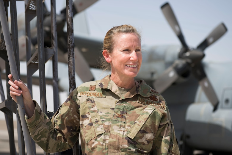 U.S. Air Force Col. Laura Goodman, 380th Expeditionary Operations Group commander stands on the flight line at Al Dhafra Air Base, United Arab Emirates, March 22, 2021. Goodman hails from Denver, Colorado, and graduated from the U.S. Air Force Academy in 1997. (U.S. Air Force photo by Staff Sgt. Zade Vadnais)