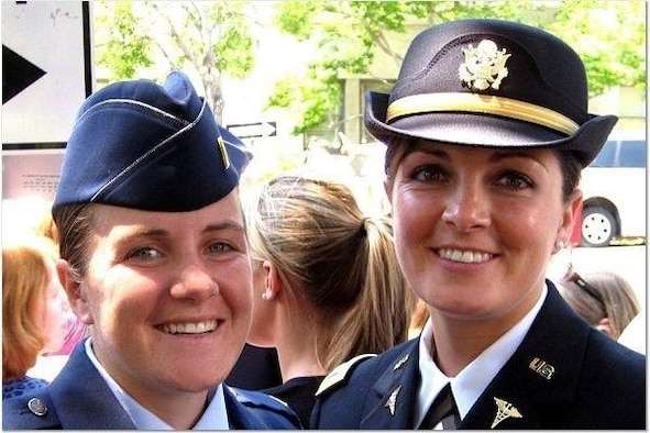Marit Duffy (right), former U.S. Army Radiologist, is the sister of Air Force Maj. Courtney Barnett (left), who is currently deployed as the chief of command and control/Intelligence, Surveillance and Reconnaissance, U.S. Air Forces Central Operations, Al Udeid Air Base, Qatar.