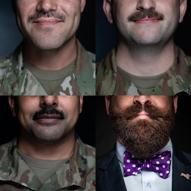 Close-up of four Airmen's mustaches.