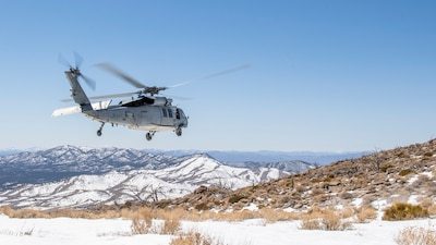 An MH-60S Sea Hawk helicopter conducts high-altitude landing training at Naval Air Station (NAS) Fallon, Nev.