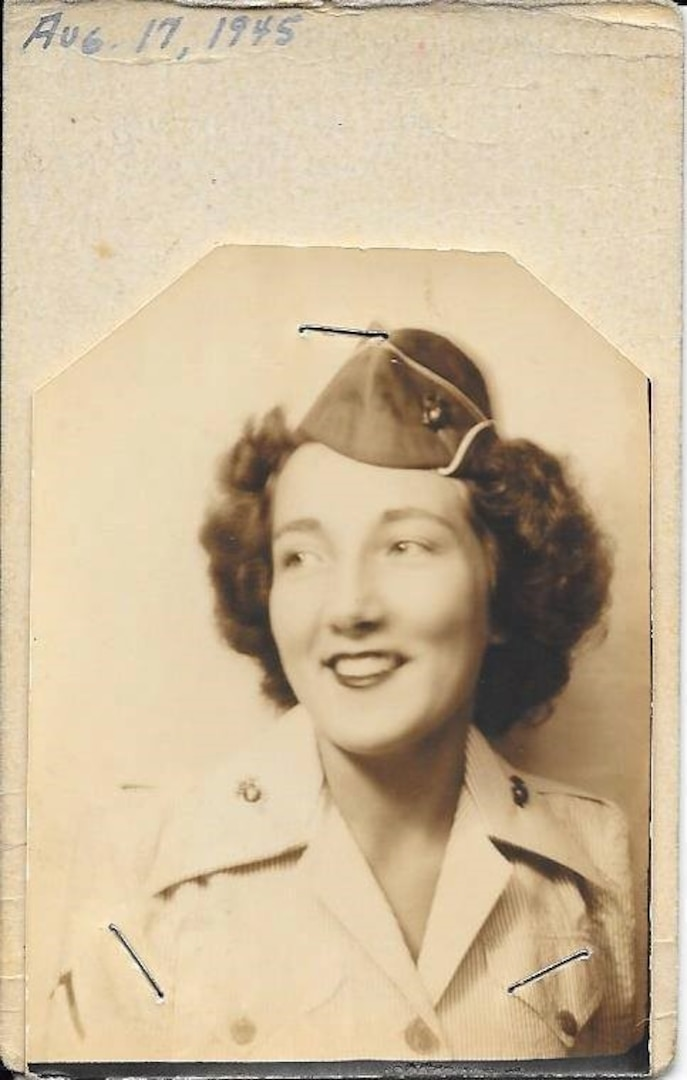 Norma Glave, grandmother of Air Force Maj. Courtney Barnett, is pictured here circa 1945. Young was an administrative worker in the United States Marine Corps and was the first in a long line of women in Barnett's family who committed to service in the military.