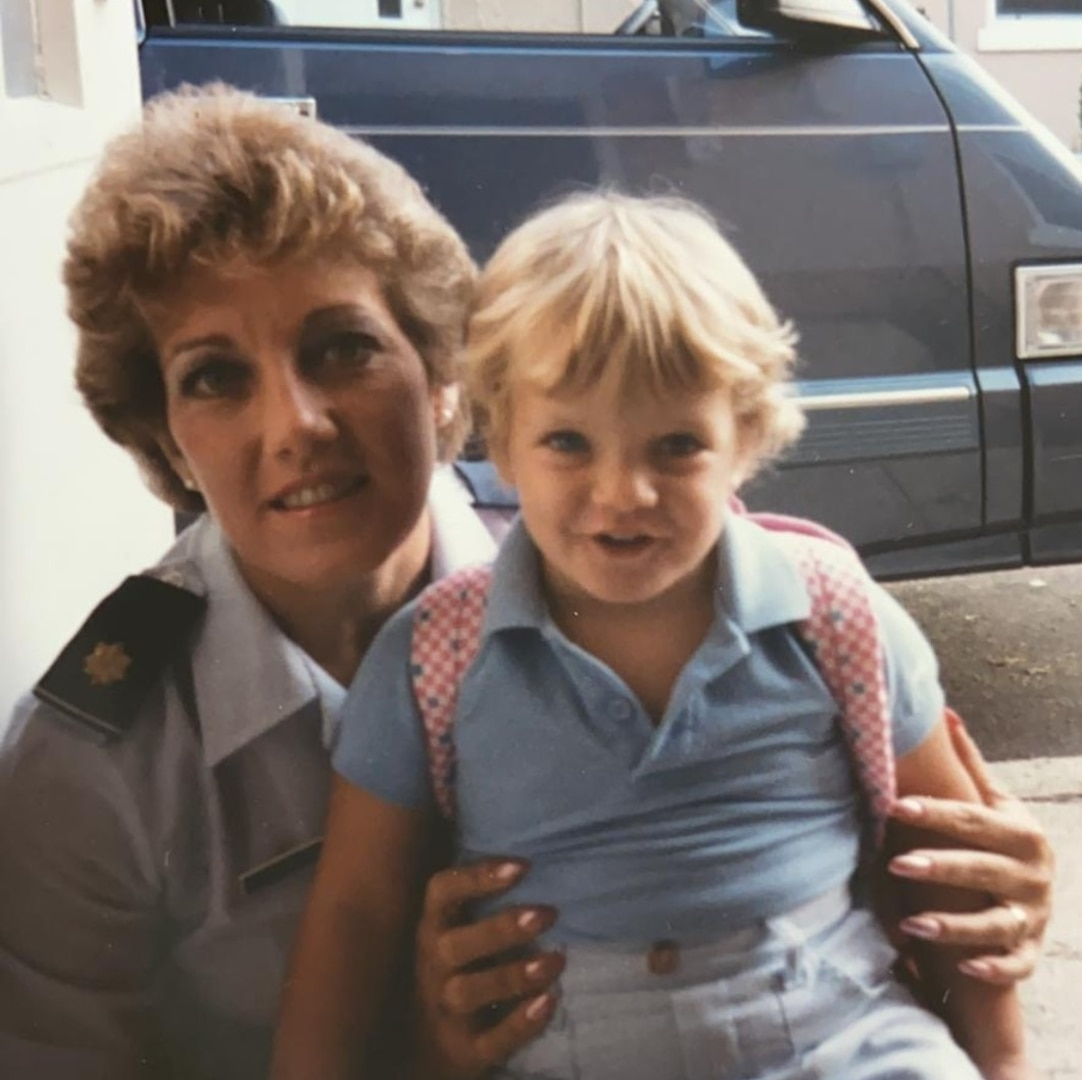 Colonel (U.S. Air Force, ret.) Donna Rosa, who was the first female group commander at Misawa Air Base, Japan, poses with her young daughter Courtney Barnett.