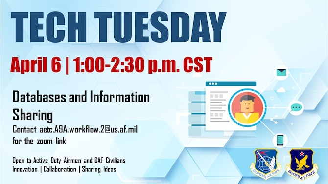 Graphic publicizing AETC Tech Tuesday, April 6 between 1 p.m. – 2:30 p.m. central time.