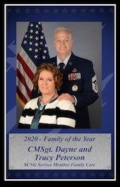 U.S. Air Force Chief Master Sgt. Dayne Peterson and Mrs. Tracy Peterson, 169th Fighter Wing, South Carolina Air National Guard, were selected to represent the South Carolina Air National Guard as the 2020 Family of the Year for the annual Air National Guard Airman of the Year competition, Feb. 18, 2021. (U.S. Air National Guard layout by Senior Master Sgt. Edward Snyder, 169th Fighter Wing Public Affairs)