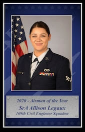 U.S. Air Force Senior Airman Allison Legaux, 169th Civil Engineer Squadron at McEntire Joint National Guard Base, South Carolina, was selected to represent the South Carolina Air National Guard as the 2020 Airman of the Year for the annual Air National Guard Airman of the Year competition, Feb. 18, 2021. (U.S. Air National Guard layout by Senior Master Sgt. Edward Snyder, 169th Fighter Wing Public Affairs)