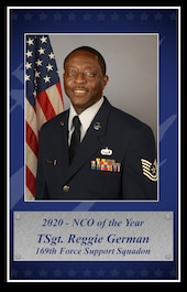 U.S. Air Force Tech. Sgt. Reggie German, 169th Force Support Squadron services specialist at McEntire Joint National Guard Base, South Carolina, was selected to represent the South Carolina Air National Guard as the 2020 Non-Commissioned Officer of the Year for the annual Air National Guard Airman of the Year competition, Feb. 18, 2021. (U.S. Air National Guard layout by Senior Master Sgt. Edward Snyder, 169th Fighter Wing Public Affairs)