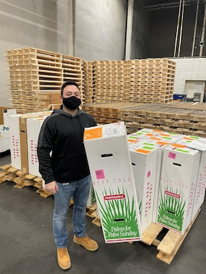 A DLA worker stands with a shipment of religious palms.
