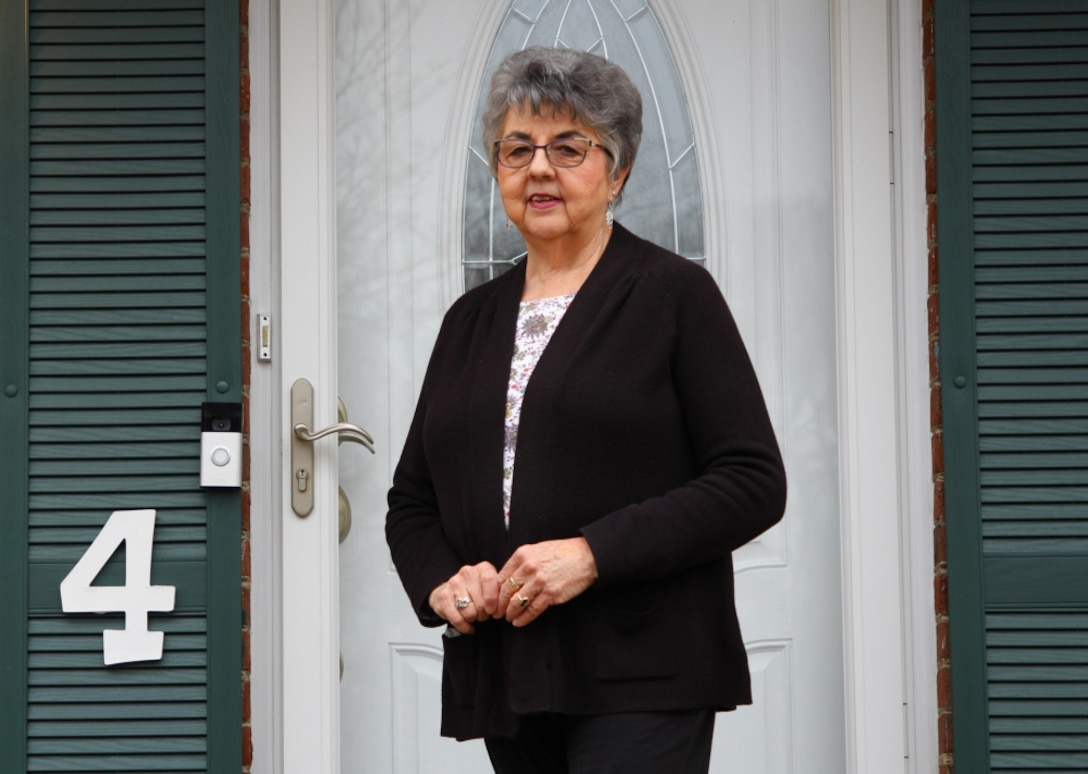 Jean Stanfield, retired administrative supervisor, poses outside of her home in Fredericksburg, VA, March 16, 2021.