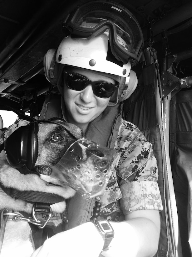 A Marine poses for a photo with a dog.