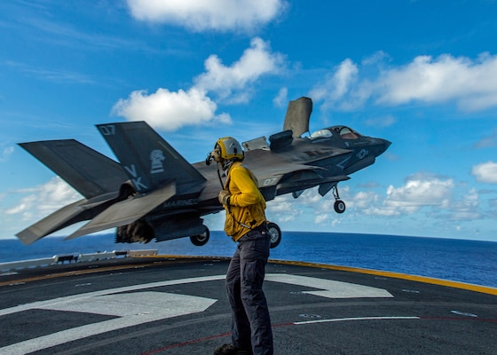 F-35B Lightning II fighter aircraft with Marine Medium Tiltrotor Squadron (VMM) 265 (Reinforced), 31st Marine Expeditionary Unit, takes off from flight deck of USS America during air defense exercise, Philippine Sea, March 23, 2020 (U.S. Marine Corps/Isaac Cantrell)