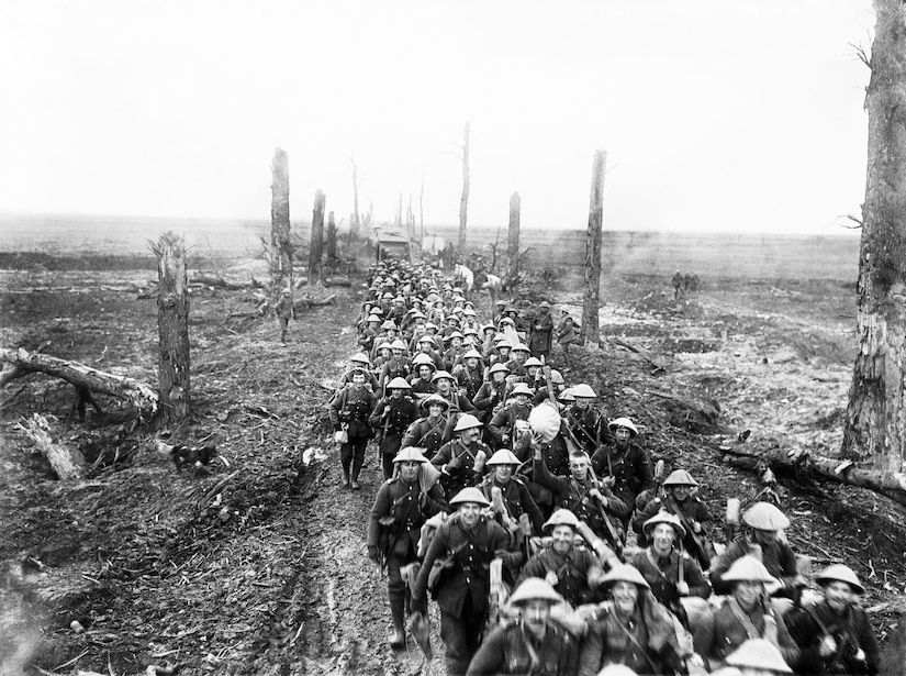 Men of the Nottinghamshire and Derbyshire Regiment (The Sherwood Foresters) marching along Amiens-St. Quentin  Road, from Foucancourt, near Brie, Somme, March 1917, after German withdrawl to Hindenberg Line (Courtsey Imperial War Museum/Ernest Brooks)