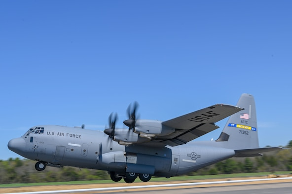 A C-130J flys during a Turkey Shoot competition at Little Rock Air Force Base, Arkansas