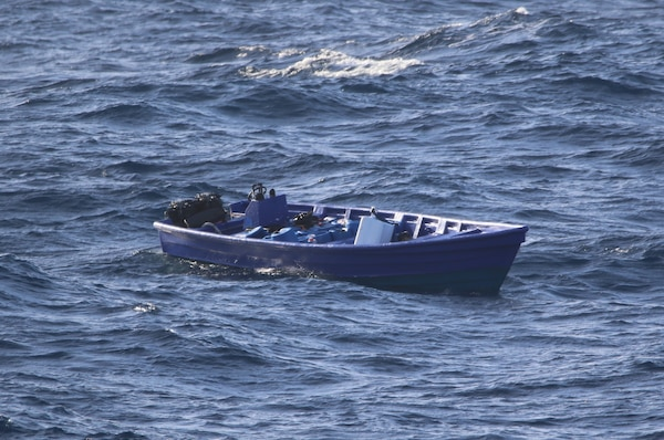 The Freedom-variant littoral combat ship USS Wichita (LCS 13), with embarked U.S. Coast Guard (USCG) Law Enforcement Detachment (LEDET) 402, intercepts a suspect go fast vessel during  counter-narcotics operations.