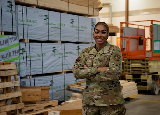 Chief Master Sgt. Syreeta Seamon-Sylvester, 51st Logistics Readiness Squadron superintendent of deployment and distribution flight, poses for a photo at Osan Air Base, Republic of Korea, March 17, 2021. Seamon-Sylvester sewed on chief master sergeant last month and continues to grow the legacy of Women's History Month for the U.S. Air Force. (U.S. Air Force photo by Airman 1st Class Nicole Molignano)