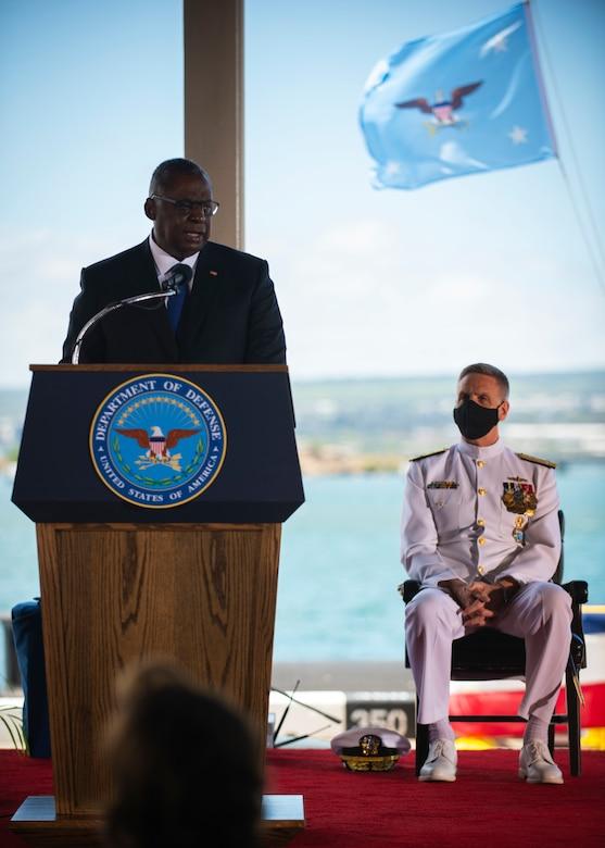 Secretary of Defense Lloyd J. Austin III speaks to an audience.
