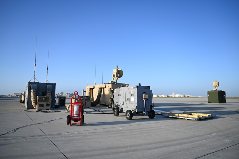 Equipment to operate the MQ-9 Reaper sits on the flightline, April 16, 2021, on Naval Air Station Point Mugu, California. Airmen are able to set up a site to operate MQ-9s within hours of arrival to a location. (U.S. Air Force photo by Senior Airman Kristin Weathersby)