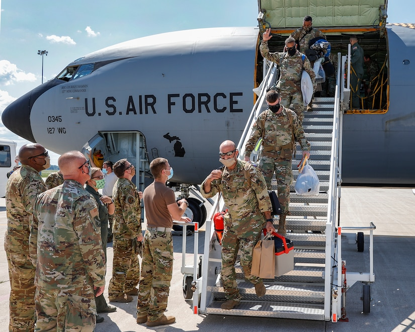 Airmen of the 127th Air Refueling Group return to their home station of Selfridge Air National Guard Base, Michigan, August 6, 2020, after a deployment to CENTCOM Area of Responsibility. The deployment for the 127th ARG was thier latest in a continuing series.  (U.S. Air National Guard Photo By Terry L. Atwell)