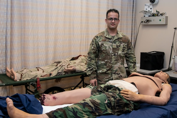 U.S. Air Force Senior Airman Issac Loreno, 932nd Airlift Wing, medical group, medical technician, practices drawing blood, Scott Air Force Base, Illinois, April 30, 2021. Loreno was nominated to do the airman spotlight for the May unit training assembly. (U.S. Air Force photo by Senior Airman Brooke Spenner)