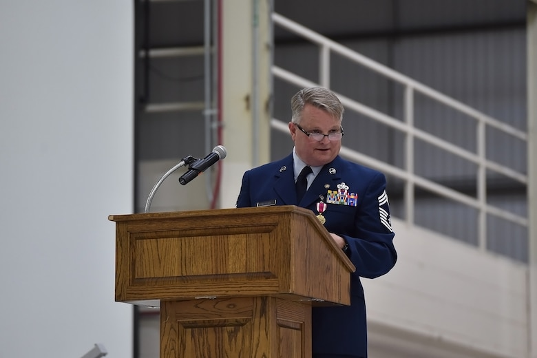 Chief Master Sgt. Chad Weisend address friends and family during his retirement ceremony held at Grissom Air Reserve Base, Ind., May 1, 2021. Weisend retired as after 36 years of service. (U.S. Air Force Photo/ Tech. Sgt. Jami K. Lancette)