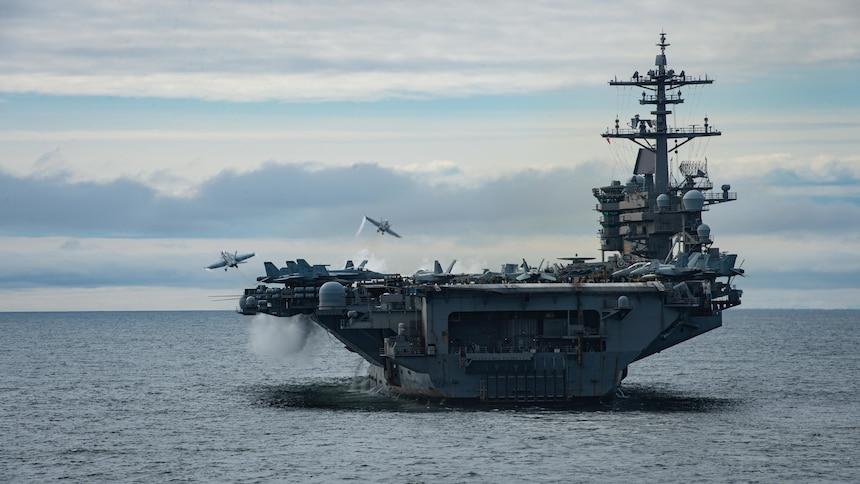 USS Theodore Roosevelt (CVN 71) conducts flight operations.