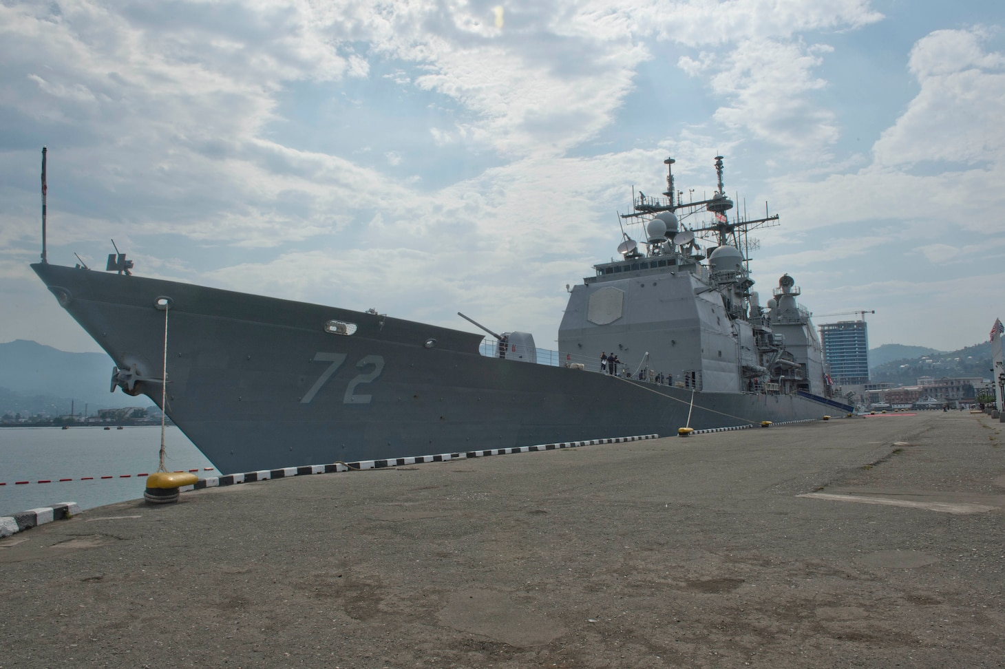 The Ticonderoga-class guided-missile cruiser USS Vella Gulf (CG 72) sits pier side in Batumi, Georgia for a scheduled port visit. Vella Gulf, homeported in Norfolk, Va., is conducting naval operations with allies in the U.S. 6th Fleet area of operations in order to advance security and stability in Europe.